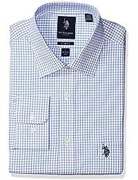 Men's Slim Fit Check Semi Spread Collar Dress Shirt
