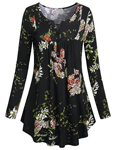 SeSe Code Floral Blouses for Women Ladies V Neck Tunic Top Flowered Pattern Vintage Lightweight Cute Shirts Full Sleeve Flared Bottom Comfy Running Knit Pullover Sweatshirt Black-2 XXXL