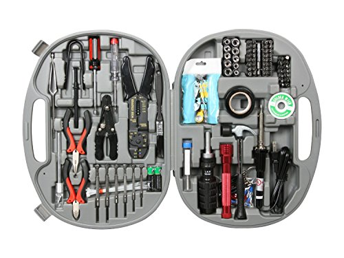 Rosewill Tool Kit RTK-146 Computer Tool Kits for Network & PC Repair Kits Wire Stripper Soldering Iron Flashlight ESD Strap Nose Pliers Phillips Screwdriver Knife Hex Bits Torq Bits Star Bits (Strap Wire Kit)