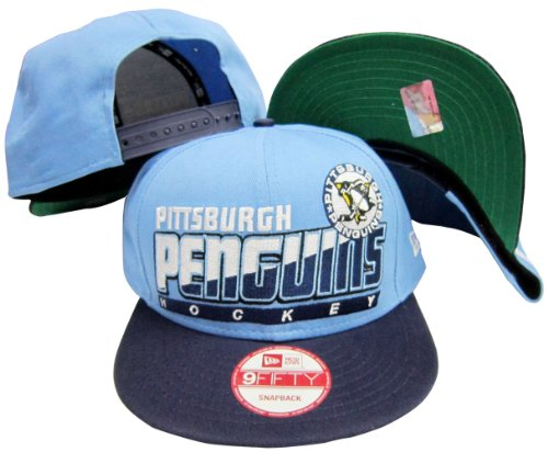 Pittsburgh Penguins Light Blue/Navy Two Tone Snapback Adjustable Plastic Snap Back Hat / Cap