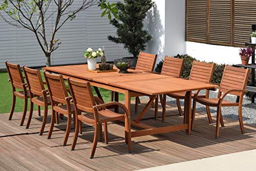 Amazonia Arizona 9-Piece Patio Rectangular Extendable Dining Table Set | Eucalyptus Wood...