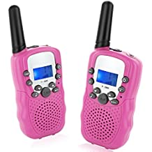 Topsung T388 Kids Walkie Talkies Built-in Flashlight UHF Two Way Radio Long Rang Free Call 22 Channels 3 Miles / Best Woki Toki Christmas Birthday Gifts for Boys and Grils (Pink / 1Pair)