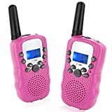 Topsung T388 Family Walkie Talkies, Easy to Use 22 Channels Long Range with Flashlight Birthday Gifts Friendly Toys Walky Talky for Girls Woman Wedding Party (Pink 2 Pack)
