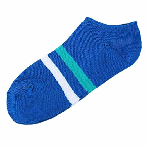 Dressffe Fashion Women Cotton Casual Socks ,1Pair Unisex Comfortable Stripe Cotton Sock Slippers Short Ankle Socks (Blue)