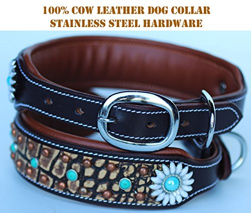 PRORIDER XSmall 9''- 13'' Rhinestone Dog Puppy Collar Crystal Cow Leather 6028CO85