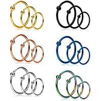 Jstyle 18Pcs 20G Stainless Steel Nose Ring Hoop Septum Ring Cartilage Helix Ear Piercing 6mm 8mm 10mm