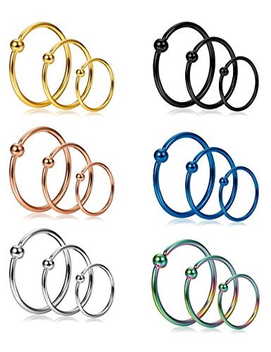 Jstyle 18Pcs 20G Stainless Steel Nose Ring Hoop Septum Ring Cartilage Helix Ear Piercing 6mm 8mm (Steel Nose Ring)