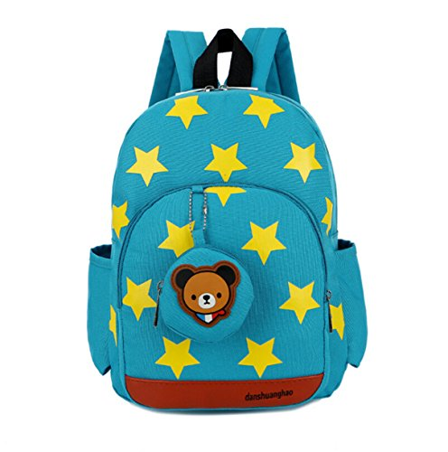 Monitor The Baby Pooh Winnie (LmeiKK Kindergarten Cartoon little stars Backpack Oxford cloth Snacks Storage bags (Green))
