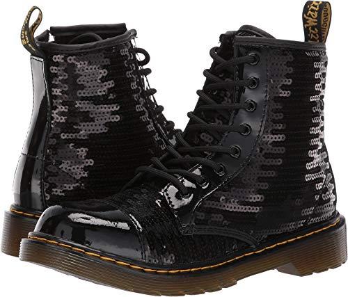 Dr. Martens Kid's Collection Girl's 1460 Pooch Sequins Boot (Big Kid) Black Sequin/Patent Lamper 5 M -