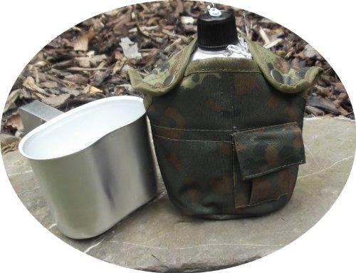 Aluminium Feldflasche inkl. Trinkbecher mit langem Griff, Flecktarn