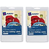 2 Pack Avery No-Iron Clothing Labels, White, Assorted, Pack of 45 (40700)