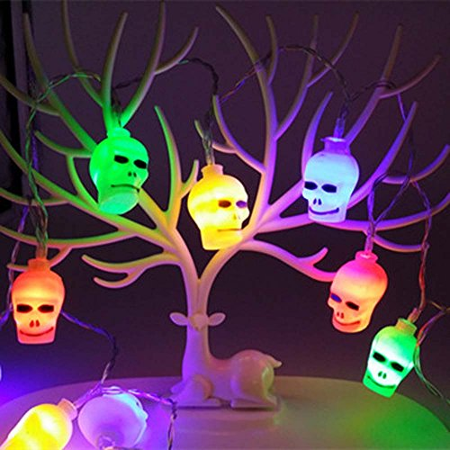 Price comparison product image Circle Circle 2M 20 Lights Battery Powered Skull Shape LED String Light for Indoor/Outdoor Halloween Christmas Eve Thanksgiving Home Yard Garden Party Children Room Decorations (Multicolor)