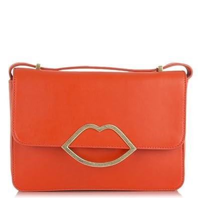 1847c35aec7ad Lulu Guinness Medium Orange Leather Edie Cross-Body Bag Orange Leather