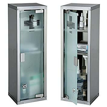 Large Wall Mountable Medicine Cabinet Cupboard First Aid Lockable