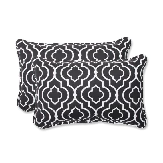 Pillow Perfect Outdoor Starlet Night Rectangular Throw Pillow, Set of 2,Black - Includes two (2) outdoor pillows, resists weather and fading in sunlight; Suitable for indoor and outdoor use Plush Fill - 100-percent polyester fiber filling Edges of outdoor pillows are trimmed with matching fabric and cord to sit perfectly on your outdoor patio furniture - living-room-soft-furnishings, living-room, decorative-pillows - 51qXFvcnnuL. SS570  -