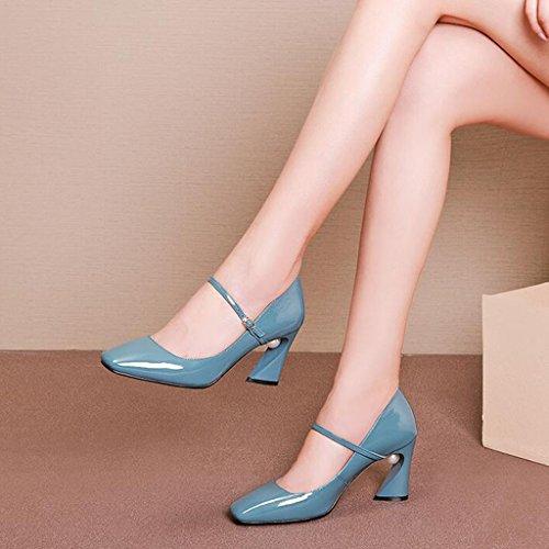 Muma Pompen Woord-gesp Hoge Hak Vrouwelijke Spring-vierkante Kop Wild Ondiepe Mond-shoe Hakken Ruwe Roze (kleur: Roze, Maat: Eu39 / Uk6 / Cn39) Blue
