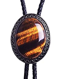 Bolo Tie with Natural Tiger Eye Stone Celtic Style Genuine and Cowhide Rope
