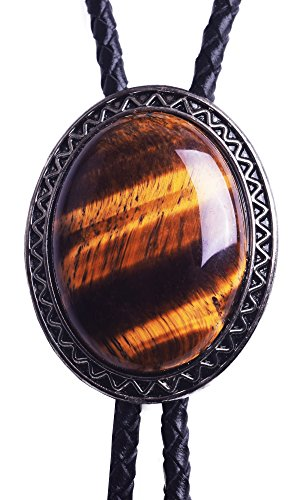 Yuanmo Bolo Tie with Natural Tiger Eye Stone Celtic Style Genuine and Cowhide Rope
