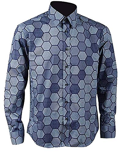 Mens Hexagon Shirt Knight Joker Shirt Cosplay Costume (3XL, Blue) (The Joker Fancy Dress Costume Dark Knight)