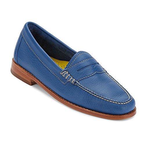 Gh Bass & Co. Womens Whitney Penny Loafer Cobalto Morbido In Pelle Martellata