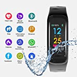 Auntwhale C18 Colorful 0.96'' OLED Screen IP67 Waterproof Smart Bracelet With Continuous Heart Rate Monitoring & Sleep Monitoring & Step Counter Blue-tooth Sports Bracelet