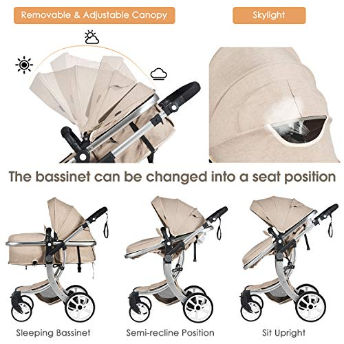BABY JOY Baby Stroller, 2-in-1 Convertible Bassinet Sleeping Stroller, Foldable Pram Carriage with 5-Point Harness, Including Rain Cover, Net, Cushion Pad, Foot Cover, Diaper Bag (Beige)