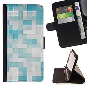 For HTC Desire 820 Case , Patrón Azul Blanco Azulejos- la tarjeta de Crédito Slots PU Funda de cuero Monedero caso cubierta de piel