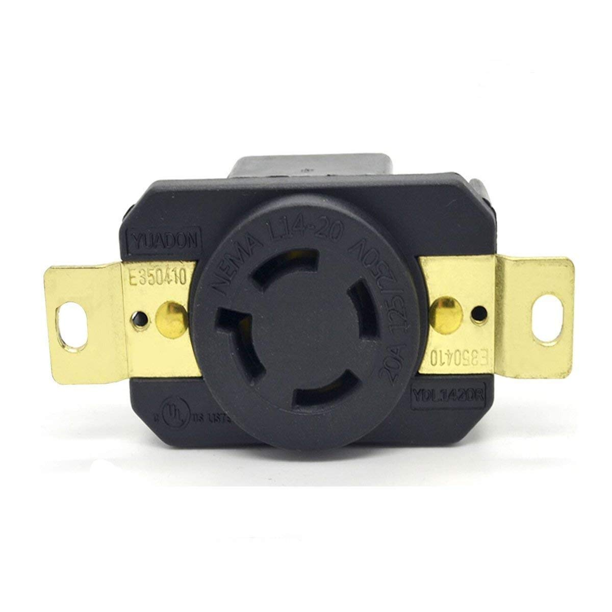 YuaDon UL Listed 20A 125/250V NEMA L14-20R AC Twist Lock Receptacle Connector Socket,3 Pole,4 Wire(3P+E),Grounding,Impact Duponty Nylon Housing,Industrial Grade