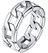 U7 Men Women Stainless Steel 5mm 7mm Wide Band Cuban Link Chain Ring/Spinner Rings, Size 5 to 12,...