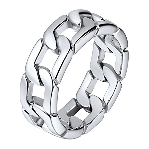 U7 Stainless Steel 7mm Wide Band Cuban Link Chain Ring, Size 8