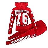 Girls Long Sleeve Hooded top & Bottom Set Kids Tracksuit (RED,Brooklyn New York 76', 9-10 Years)