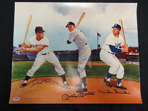 Mickey Mantle Willie Mays Duke Snider Signed 16x20 Photo Auto AC02115 - PSA/DNA Certified - Autographed MLB (Autographed Duke Snider Photo)