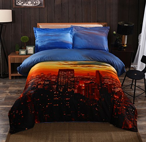 Beddinginn 4 Pieces 3d 100% Cotton Bedding Sets Collection Blue Sky Sunset Falls Over City Scene Print Duvet Cover Sets (Queen,Brown and Blue)