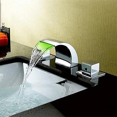 Sprinkle Color LED Widespread Waterfall Chrome Bathroom Sink Faucet Two Handles Bathtub Mixer Taps Tub Bath Shower Faucets Valve Vessel Sink Vanity Lavatory Plumbing Fixtures
