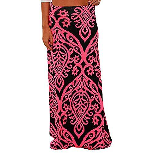 - Henwerd Women's Fashion Summer Beach Floral Prints Skirt Polyester Straight Casual Floor-Length Low Waist Long Skirt (%Z-Hot Pink, L)