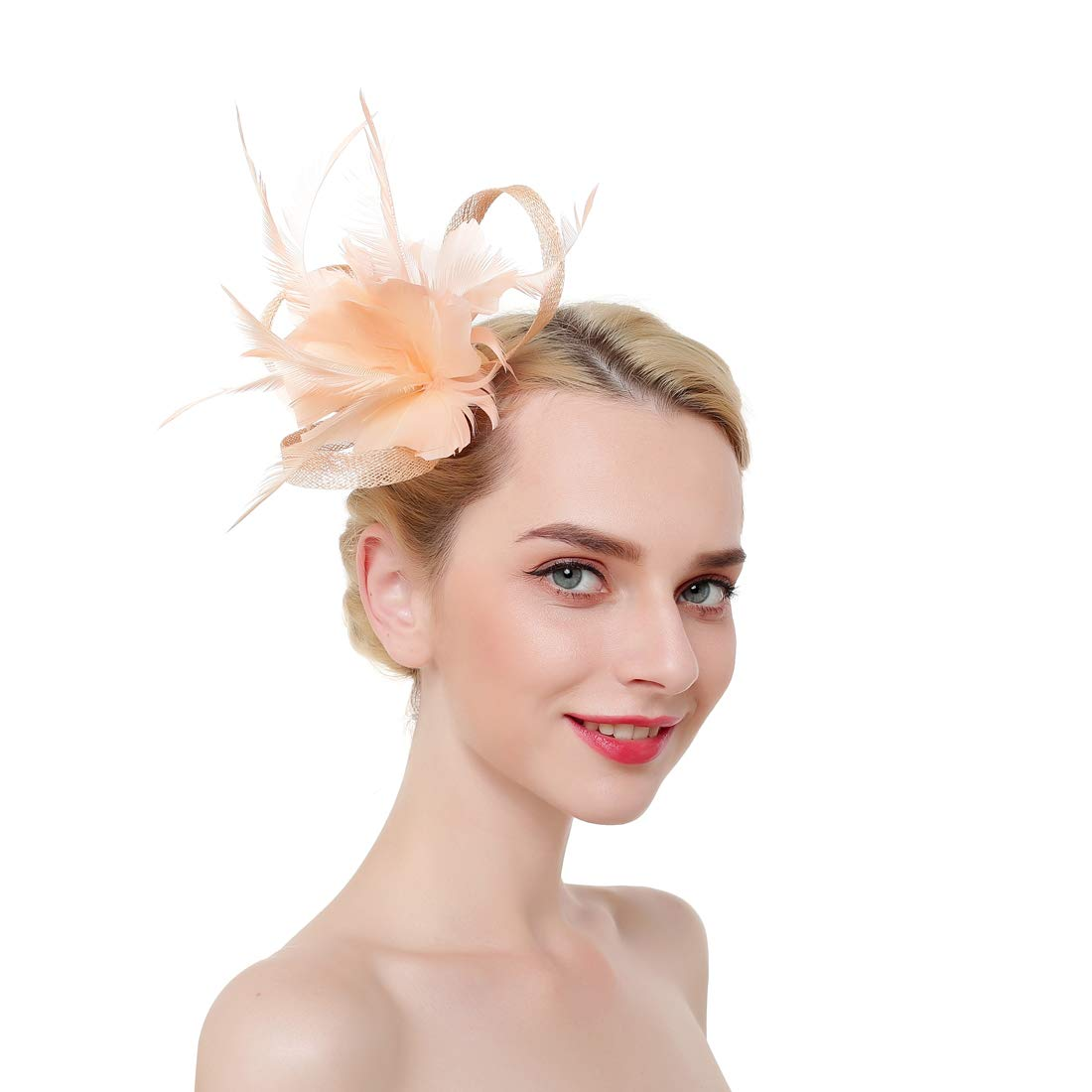 MisShe Black Fascinator Hats for Women Feather Cocktail Party Hats Bridal Kentucky Derby Headband