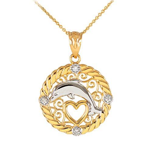 Collier Femme Pendentif 14 Ct Or Jaune Côtelé Cercle Diamant Sauteur Dauphin Cœur Filigrane (Livré avec une 45cm Chaîne)