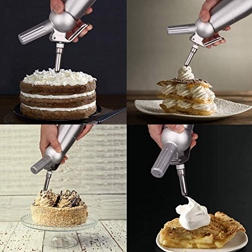 500mL Portable Whipped Cream Dispenser with 3 Stainless Steel Decorating Nozzles for Decorating a Whipped Cream, Birthday Cake, Ice Cream, Cheese, Pastry Cream, Shakes and Desserts