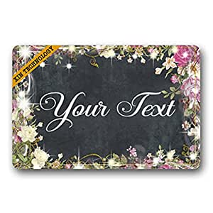 "Artsbaba Doormat Personalized Your Text Door Mat Classic Flower Frame Doormats Monogram Non-Slip Doormat Non-woven Fabric Floor Mat Indoor Entrance Rug Decor Mat 23.6"" x 15.7"""