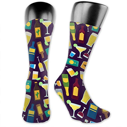 SARA NELL Men & Women Classics Crew Socks Cartoon Alcoholic Beverages Thick Warm Cotton Crew Winter Socks Personalized Unique Gift Socks