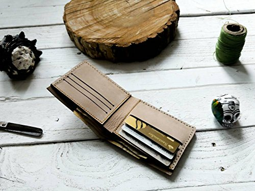 Amazon.com: Beige wallet | mens wallet | Gift | without logo| father | boyfriend | card holder | Cartera hombre piel para tarjetas hecha a mano cuero: ...