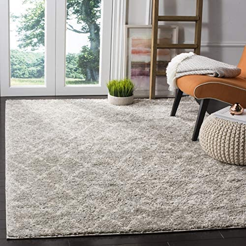 Safavieh Berber Shag Collection BER165B Light Grey and Cream 10' x 14' Area Rug