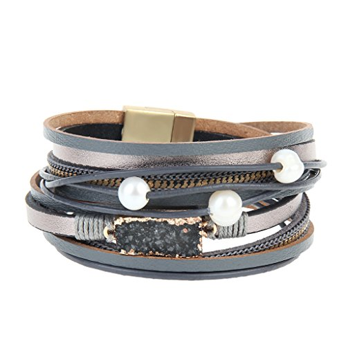 COOLLA Women Genuine Leather Vintage Volcanic Stone Wrap Bangle Bracelet Pearl Pendant Magnet Buckle (Grey) (Bracelets Plastic Vintage)