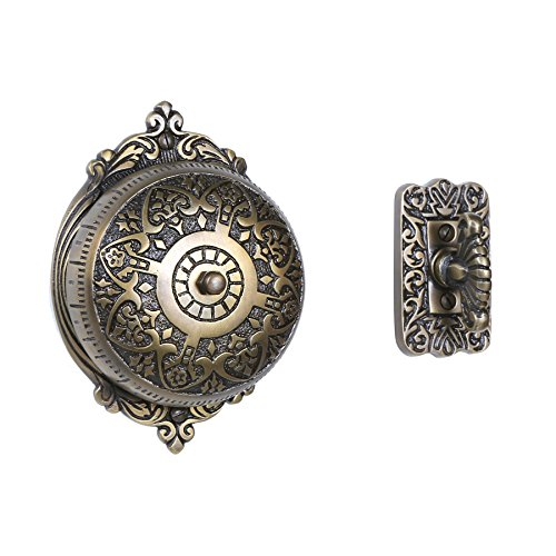 (A29 Twist Hand-Turn Solid Brass Wireless Mechanical Doorbell Chime in Antique Brass Finish Vintage Decorative Victorian Door Bell with Easy Installation)