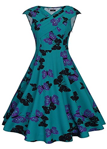 [Women's 1960s Short Sleeve A Line Swing Party Vintage Dress Butterfly Print Green M] (Cherry Apple Costumes)