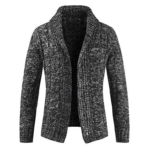 HOSOME Men Zip Sweater Jacket Autumn Winter Casual Long Sleeve Slim Pocket Fit Coat Gray
