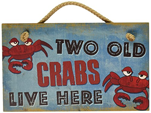 New Vintage Wood Hanging Wall Sign Two Old Crabs Live Here Distressed Plaque Cozy Beach Cottage Decor Art Beach Cottage Wall Art