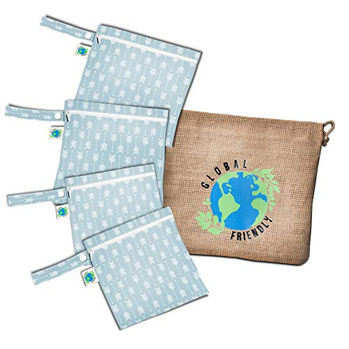 Global Friendly 4-pack Reusable Snack Bags, Sandwich and Lunch bags that are Non-toxic, Phthalate, PVC, Lead Free and Easy to Clean Bags With FREE Jute Bag NEW AND UPGRADED BAGS
