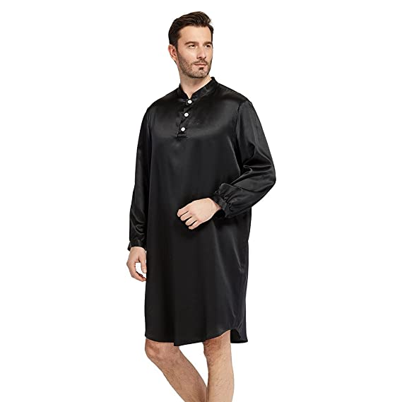 3fe968af10 LILYSILK Men s Mulberry Silk Dressing Gown Mid Length Nightshirt Robe Long  Sleeve 22 Momme 100%