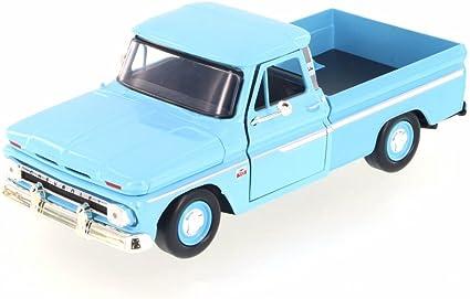 MOTORMAX 1:24 1966 CHEVROLET C10 FLEETSIDE PICKUP  DIE-CAST BLUE 73355